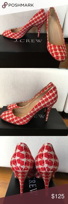 """J.Crew collection  pumps RARE silk apple print J.Crew Collection apple print pumps.  Excellent used condition, no visible signs of wear aside from the sole. 3.5"""" heel. J. Crew Shoes Heels"""