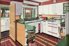 This ad was published in Ladies Home Journal and featured one of the American Gas Association's New Freedom kitchens. The color scheme of red, green, and yellow (or gold) has always been a popular combination. The counters and floor were probably both linoleum though in a few short years, plastics like Formica would begin to dominate the market.