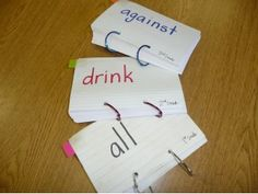 100 sight words per ring, 1st grade set, 2nd grade set, 3rd grade set....ring them together with holes at the BOTTOM of the card, to flip cards down not up.