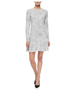 Tory Burch Long-Sleeve Doodle-Print Dress - on #sale 25% off @ #Bergdorf  #ToryBurch