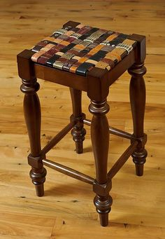 We make fine furniture and home decor using recycled leather belts. Really, belts. We weave the belts together to form a beautiful, yet comfortable and incredibly strong seat. Melding the variety of textures, patterns, colors and designs of leather, creates a one-of-a-kind design on every chair or stool. All leather is treated with stain and water protectant to prevent spots from drips and spills. All work is guaranteed.