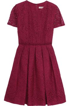 Claret corded cotton-blend lace Concealed hook and zip fastening at back 51% cotton, 41% viscose, 8% polyamide; lining1: 100% silk; lining2: 97% polyester, 3% elastane Dry clean Designer color: Dark Crimson