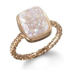 Nadia Stackable Druzy Ring, Halo