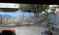 Landscaping Desert landscape mural on backyard cinder block wall. How To Buy Kid's Rugs T Block Painting, Mural Painting, Fence Painting, Backyard Shade, Backyard Fences, Fence Garden, Garden Mural, Garden Art, Cinder Block Paint
