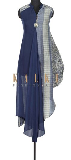 Blue printed kurti with fancy tassel only on Kalki
