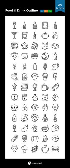 Food & Drink Outline Icon Pack - 65 Line Icons