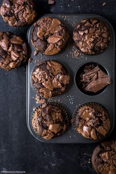 Indulge in these rich homemade & gluten free double chocolate muffins. Creamy milk chocolate melted throughout fluffy muffin batter. Homemade Chocolate, Chocolate Recipes, Homemade Snickers, Double Chocolate Muffins, Muffin Recipes, Melting Chocolate, Chocolate Chocolate, Cupcakes, Biscuits