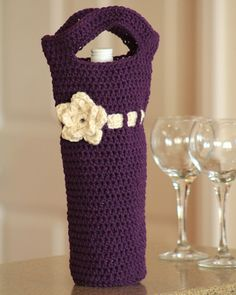 Wine Bottle Cover Bag Carrier with Flower by TheLavenderPoppy