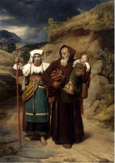 Jean-Victor Schnetz (1787 – 1870, French) A Monk Helping a Pilgrim