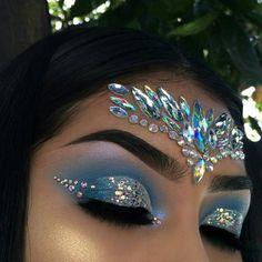 Eye makeup, gem makeup, jewel makeup, rave makeup, mermaid fantasy make Gem Makeup, Jewel Makeup, Rave Makeup, Makeup Goals, Exotic Makeup, Beauty Makeup, Hair Beauty, Gypsy Makeup, Cheer Makeup