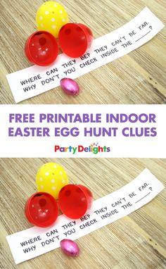 Planning an indoor Easter egg hunt? Download our free printable indoor Easter egg hunt clues and hide them inside fillable Easter eggs! Find even more Easter ideas on our blog.