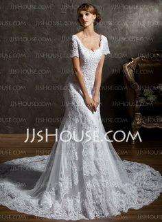 Vestidos de novia - Corte sirena Escote corazón Cola catedral satén tela Vestido de novia con encaje Bordado #WeddingDress #LDS #SUD