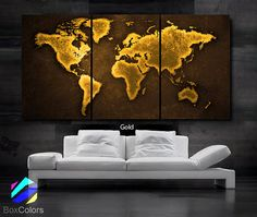 LARGE 30x 60 3 Panels Art Canvas Print World Map