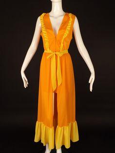 1960s Orange Nylon Short Jumpsuit and Overskirt, Bust-38