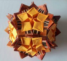 Kusudama Oriro with Carambola stars by 3DOrigamiArtStudio on Etsy