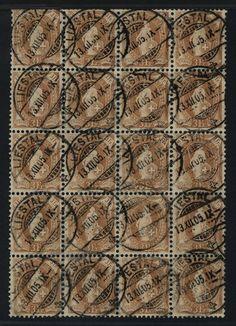 Stehende Helvetia, 3 Fr., gest. Bogenteil von 20 Werten (4x5), Fotobefund Briefmarkenprüfstelle Basel, Mi. 800    Dealer  Hettinger Auctions    Auction  Minimum Bid:  150.00EUR