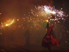 The procession of fire at Las Fallas Festival in Valencia