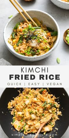 Quick and easy, vegan Kimchi Fried Rice recipe is made with veggies, kimchi, garlic, and ginger, and ready in just 30 minutes! It's full of tangy kimchi flavor and sure to be a weeknight favorite! #kimchi #vegankimchi #healthyrecipes #veganrecipes #plantbased Quick Easy Vegan, Vegan Recipes Easy, Rice Recipes, Vegan Ideas, Easy Dinner Recipes, Whole Food Recipes, Kimchi Fried Rice, Kimchi Noodles, Vegan Food