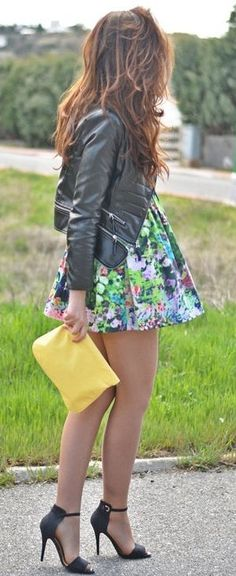 Floral Skater Dress & Leather ♥