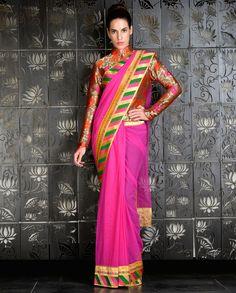 Fuchsia Sari with Brocade Jacket