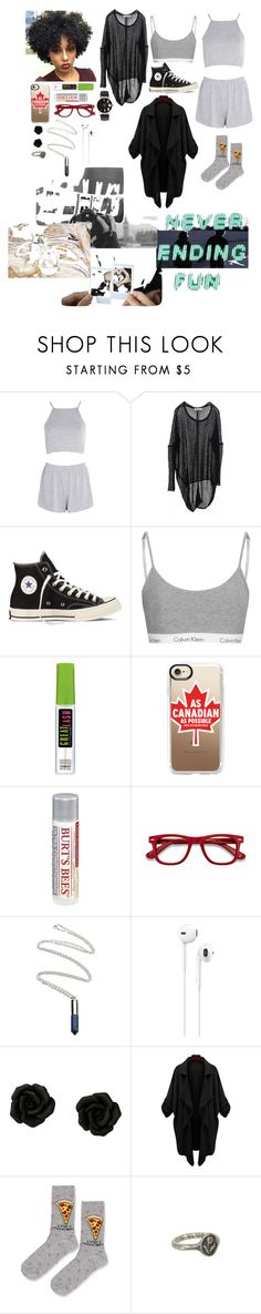 """""""Outfit"""" by gabymyredis ❤ liked on Polyvore featuring Boohoo, Paychi Guh, Converse, Casetify, Burt's Bees, EyeBuyDirect.com, Apple, Topshop and Pyrrha"""