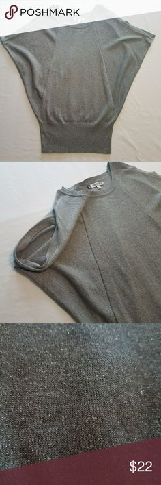 Jennifer Lopez Top This gray glitter infused knit top is so playful and fun. The sleeves are more of a cap style with extra fabric under the arm/on sides.  Like new. Size small. Bundle items from my closet and save! Jennifer Lopez Tops Blouses