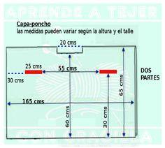 Para hacer ésta capa-poncho necesitan: MATERIALES 900 grs de acrílico grosor medio. Agujas de tejer N° 6 PUNTO EMPLEADO 1°) 2 rev.1 laz, 2p juntos, 1 der. (terminar con 2 rev) 2°) 2 der, 3 rev, 3°) 2 rev 1 der, 2p juntos, 1 lazada (terminar con 2 rev) 4°) 2 der, 3 rev. DESARROLLO Realizar la muestra y calcular los puntos como nos muestra el video. Cálculos de tejidos VER LAS MEDIDAS EN EL GRÁFICO Como nos indica…