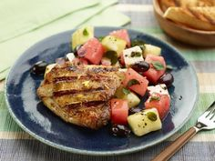 Get 30-Minute Grilled Chicken Thighs with Watermelon and Feta Salad Recipe from Food Network