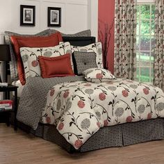 Cortina in Black, Red, Grey and Tan Cotton Duck Comforters, Bedspreads and Duvet Covers by Thomasville at Home Best Cooling Mattress, Cool Comforters, Luxury Bedding Collections, Queen Comforter Sets, Bed Spreads, House Design, Home Decor, Floral Bedding, Unique Bedding