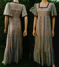 1970s vintage jurk Maxi Folk jurk Velvet Trim UK 8 door POPPIEDAYS