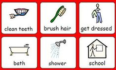 Six simple illustrations of daily activities with a one-word descriptor underneath Writing Prompts For Writers, Picture Writing Prompts, Autistic Children, Children With Autism, Autism Resources, School Resources, Week Schedule, School Schedule
