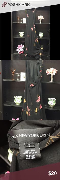 Beautiful Slip Dress Jones New York long slip dress. Black with pink floral print. 100% silk. In excellent condition and from a smoke free home. Jones New York Dresses Maxi