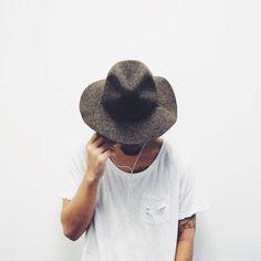 Fedora, hat, white shirt, men's fashion, t-shirt, holes,