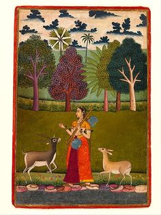 """""""Todi Ragini: A Lady with a Vina Attracts Two Deers,"""" Folio from a dispersed Ragamala (Garland of Melodies)   The Met"""