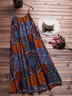 Cheap best O-NEWE Bohemian Printed Strap Big Hem Baggy Dresses on Newchic, there is always a plus size print dresse suits you! African Fashion Ankara, Latest African Fashion Dresses, African Print Fashion, Latest Fashion, Africa Fashion, Fashion Trends, Short African Dresses, African Print Dresses, Moda Afro