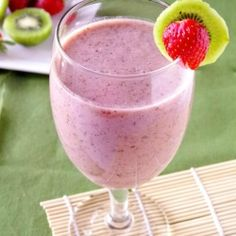 Strawberry Kiwi Smoothie (can substitute honey for agave nectar)