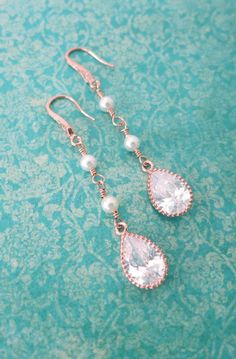Rose Gold Cubic Zirconia Teardrop and Pearl