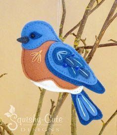 Bluebird Sewing Pattern - Bird Ornament Felt Plushie Pattern & Tutorial #SquishyCuteDesigns