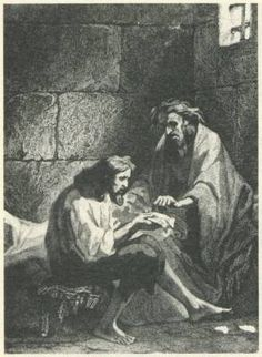 This image is Edmund and the priest, who is teaching him how to read and write.