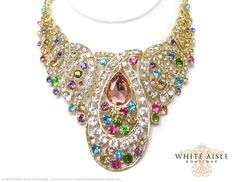 Multi Colored Wedding Jewelry Set Crystal by WhiteAisleBoutique