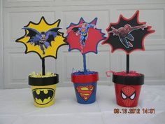 Centerpieces like this will set the scene and steal the show at your little one's superhero party! I searched for this on /images Avengers Birthday, Batman Birthday, Superhero Birthday Party, Boy Birthday Parties, Superhero Centerpiece, Superhero Party Decorations, Birthday Party Centerpieces, Fiesta Decorations, Spider Man Party