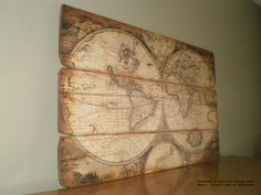 Vintage world map large canvas wall decor ready by outtakecanvas large scale vintage design tuscan old world map wood wall decor 47 long by gumiabroncs Choice Image