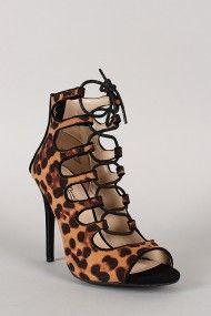 Anne Michelle Rapture-27 Leopard Lace Up Gladiator Stiletto Heel