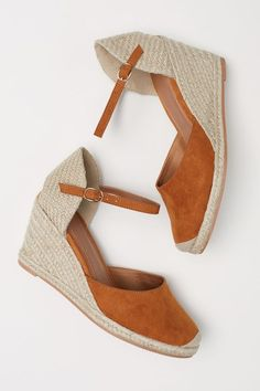 Wedge-heel sandals with braided jute trim around soles. Heel height 3 in. Next Shoes, Best Running Shoes, Mode Hijab, Size 9 Shoes, Pretty Shoes, Fashion Heels, Types Of Shoes, Womens High Heels, Wedge Heels