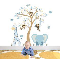 Jungle Nursery Wall Decal Coffee Cream Beige and Blue monkey giraffe and blue elephant Brown Tree Mural.
