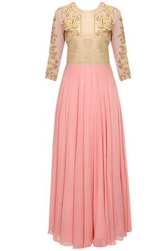 Blush pink rose and paisley embroidered anarkali set by Bhumika Sharma. Shop now: www.perniaspopups.... #anarkali #designer #bhumikasharma #elegant #clothing #shopnow #perniaspopupshop #happyshopping