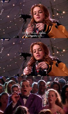 Rhetoric- In this scene in the Movie Mean Girls, Cady breaks apart the crown that she won and justifies her actions by suggesting that everyone deserves a piece of the crown. Cady's inspirational words influences her classmates to be effected by her speech and influences them to feel appreciative.