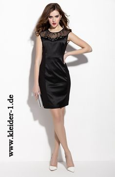 Kurzes Satin Damenkleid in Schwarz