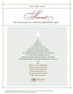 """""""Sonnet in the Shape of a Potted Christmas Tree"""" by George Starbuck"""