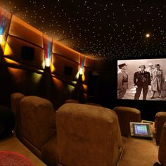 ...Movie theater room with fiber optic starry sky ceiling